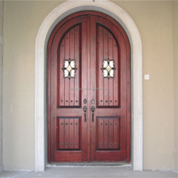 Exterior Solid wood arched double door