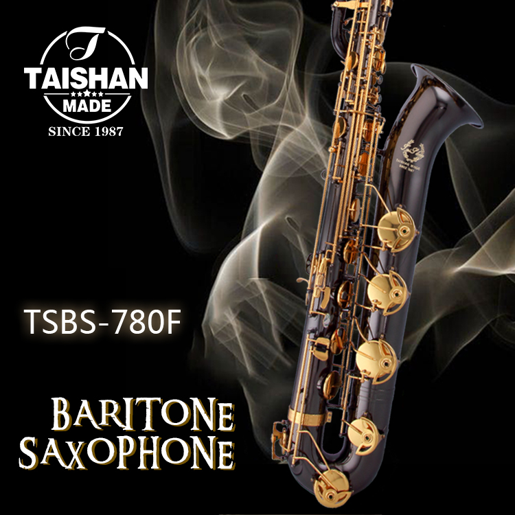 Taishan Musical Instruments 780 Best Selling Professional Sax Baritone Saxophone Black Nickel Color