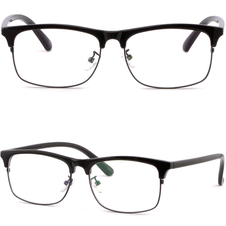 247577e890 Get Quotations · Womens Mens Square Browline Frame Prescription Glasses  Single Vision Black