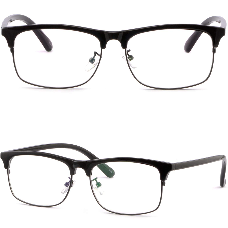 d2104455f0e Get Quotations · Womens Mens Square Browline Frame Prescription Glasses  Single Vision Black