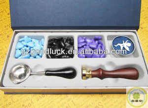 Wooden Handle Brass Plated Wax Seal Stamp Kit