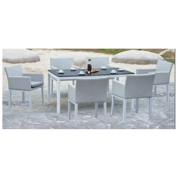 Outdoor Modern Garden Patio Large Patio Table and Chairs Set