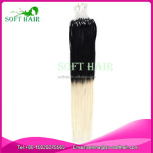 Wholesale soft hair products cheap 6a ombre micro loop ring hair extension