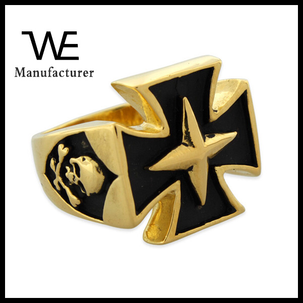 18K Gold Plated Stainless Steel Skull Star Iron Cross Ring