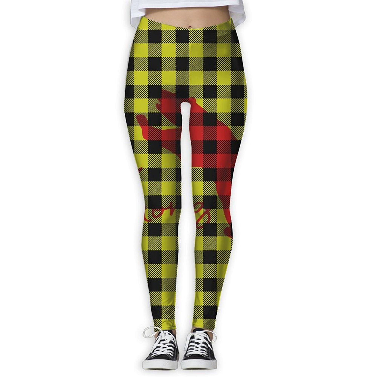 a8adf18a5895e Get Quotations · Fri Plaid Bear Buffalo Athletic Compression Pants/Yoga Pants  Running Tights Women Athletes Tall