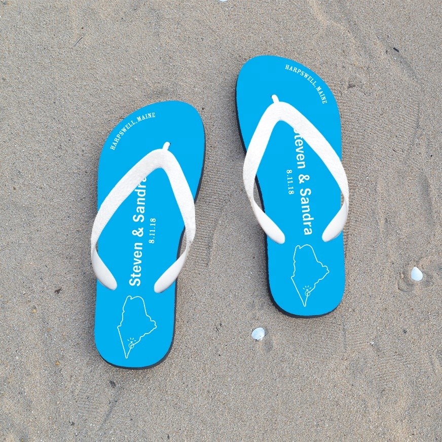 2a9439bcdf95 Custom Beach Rubber Flip Flops With Your Design For Wedding Guest ...