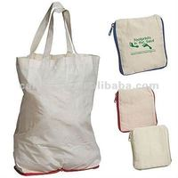 whole sale cotton foldable bag, foldded up cotton bag