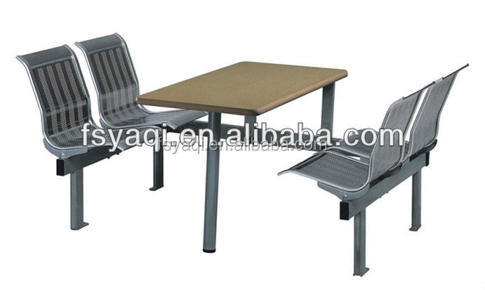 Fast Food Restaurant Modern stainless steel dining table and chair sets YA-116