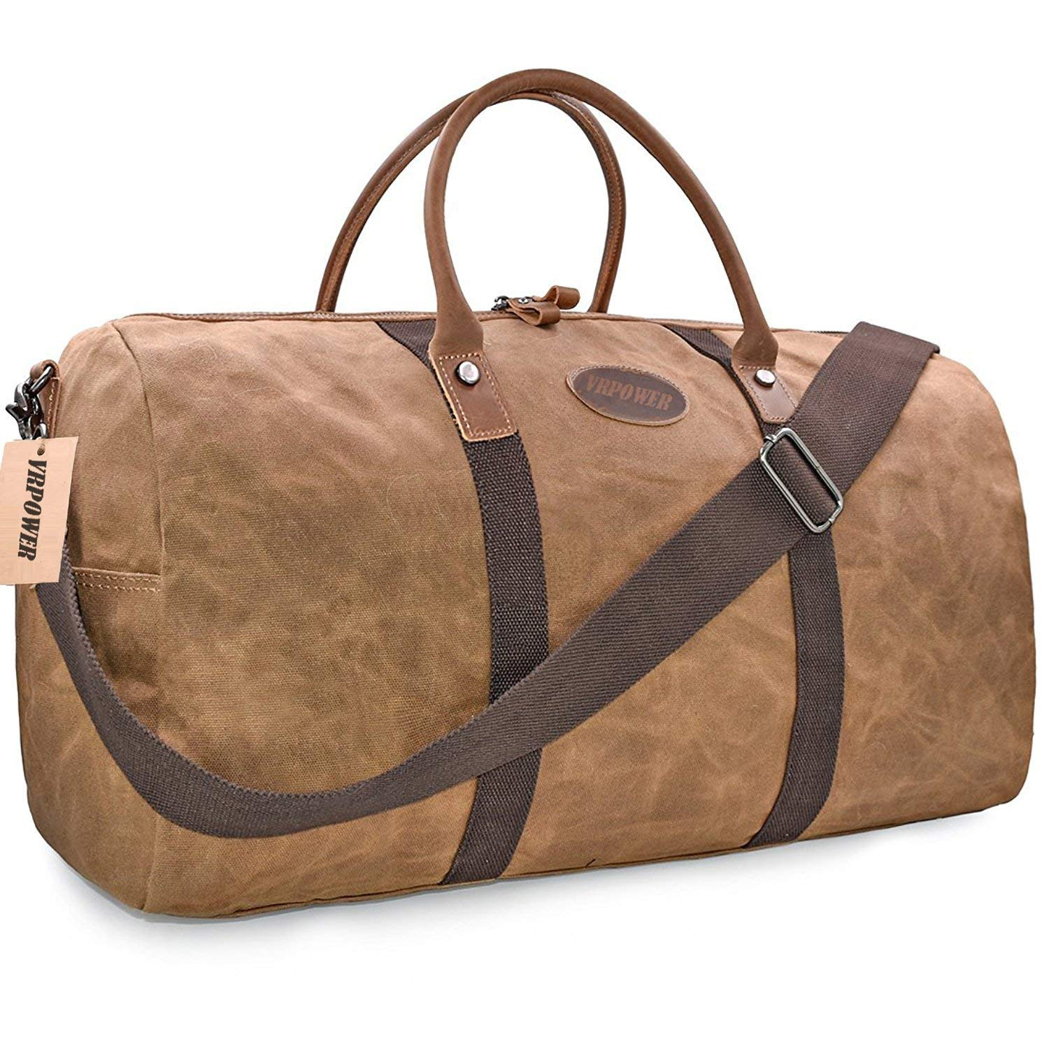Travel Duffel Bag, Waterproof Canvas Overnight Bag, Leather Weekend Carryon Bag