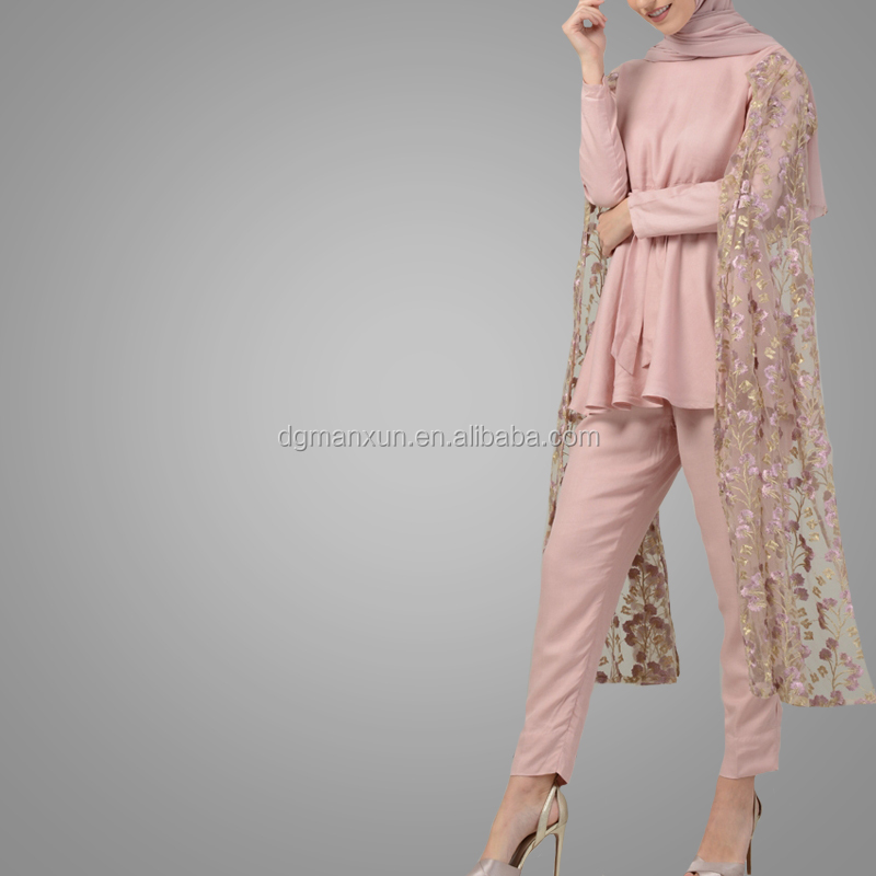 New Sweetly Two Pieces Muslim Suit Beautiful Flower Cape Style Islamic Clothing High End Elegant Top With Pants Online