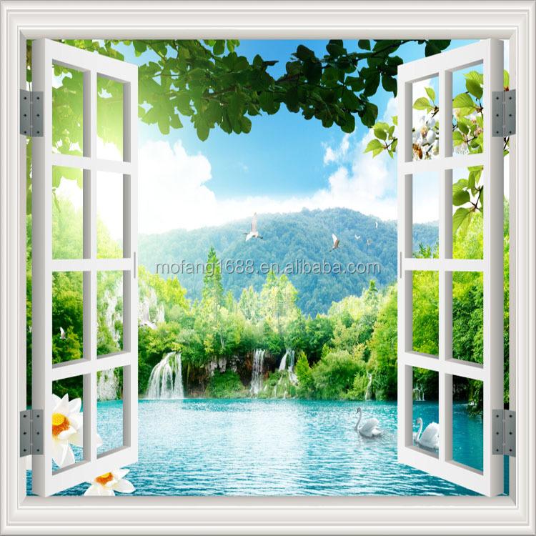 Paesaggio di bellezza forma finestra del vinile 3d murale for Carta da parati vinile