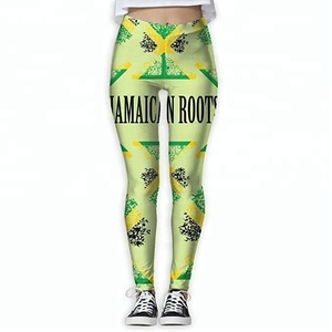 Jamaican Roots Jamaica Flag Tree Women's Colorful Elastic Yoga Pants