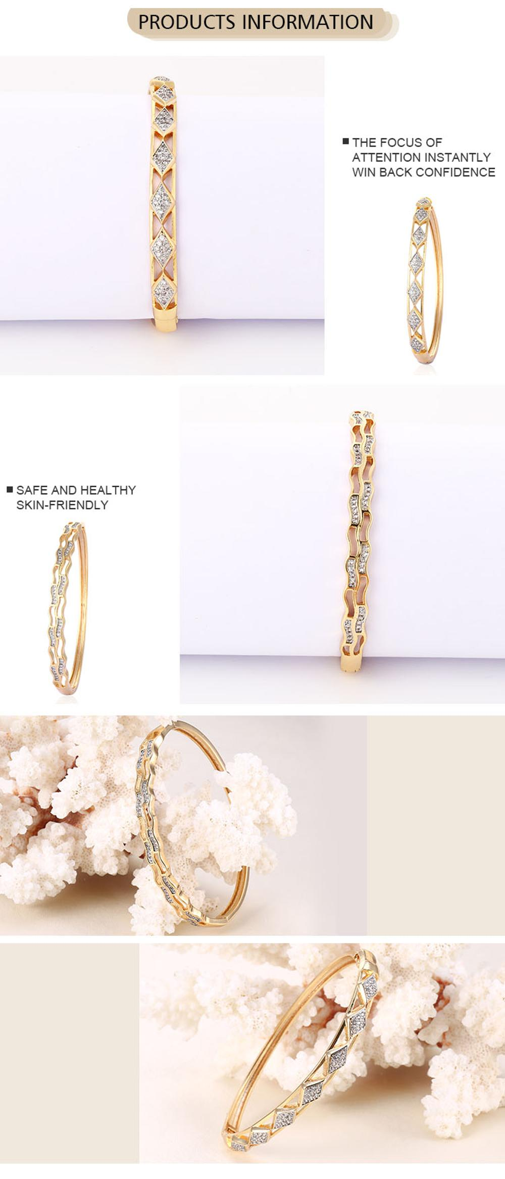Fashion India Bangle Bracelet Women Gold Plated Cubic Zirconia Bangle