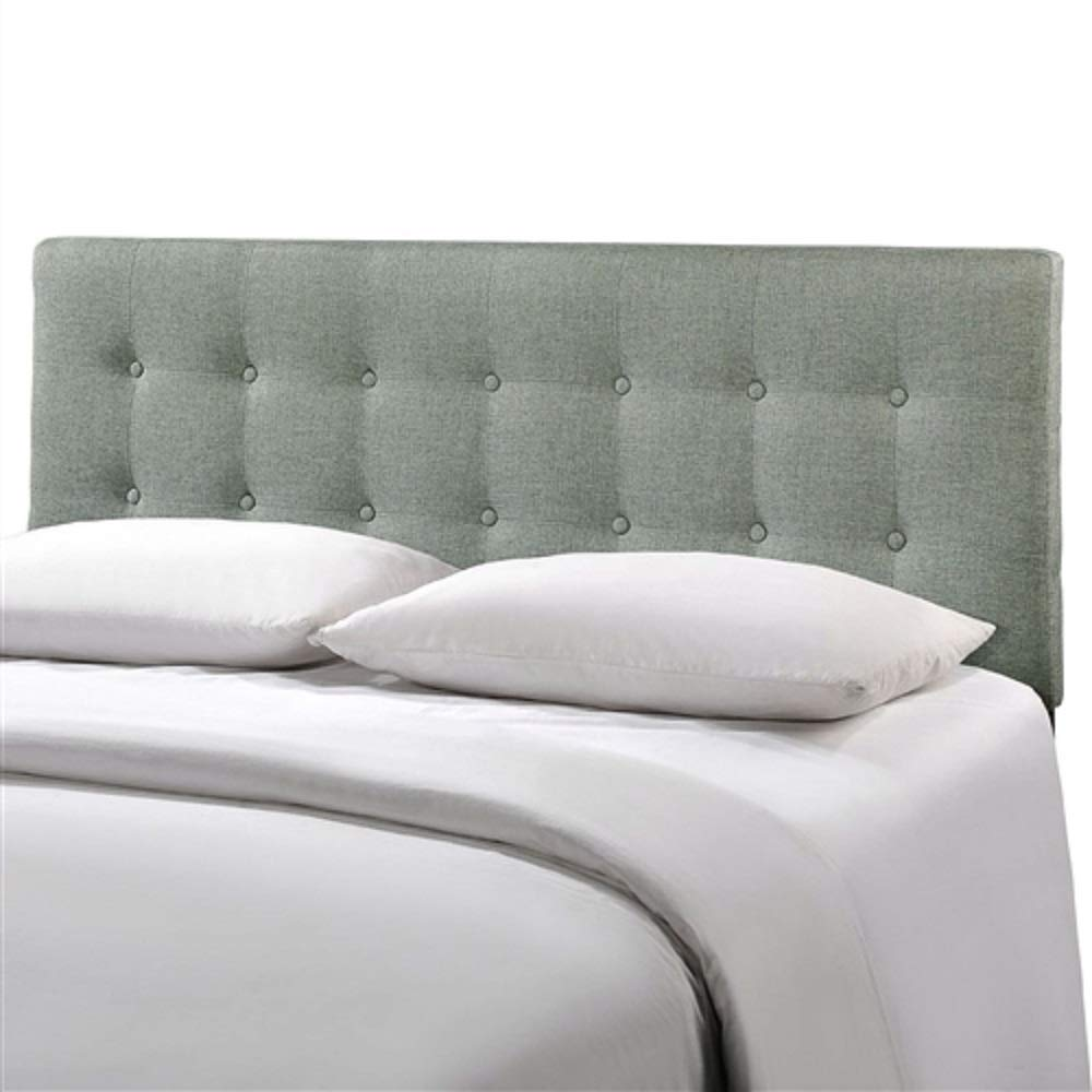 Full Size Grey Fabric Button-Tufted Upholstered Headboard Upholstered Queen Bedroom Tufted Furniture MyEasyShopping