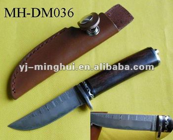 Damascus fixed blade knife with leather sheath