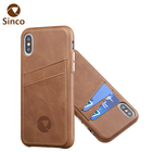Handcrafted clear view custom cowhide mobile leather phone case for iPhone XS Max
