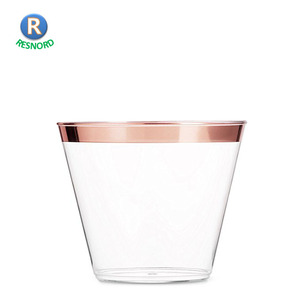 Clear Old Fashioned Tumblers Rose Gold Plastic Cups