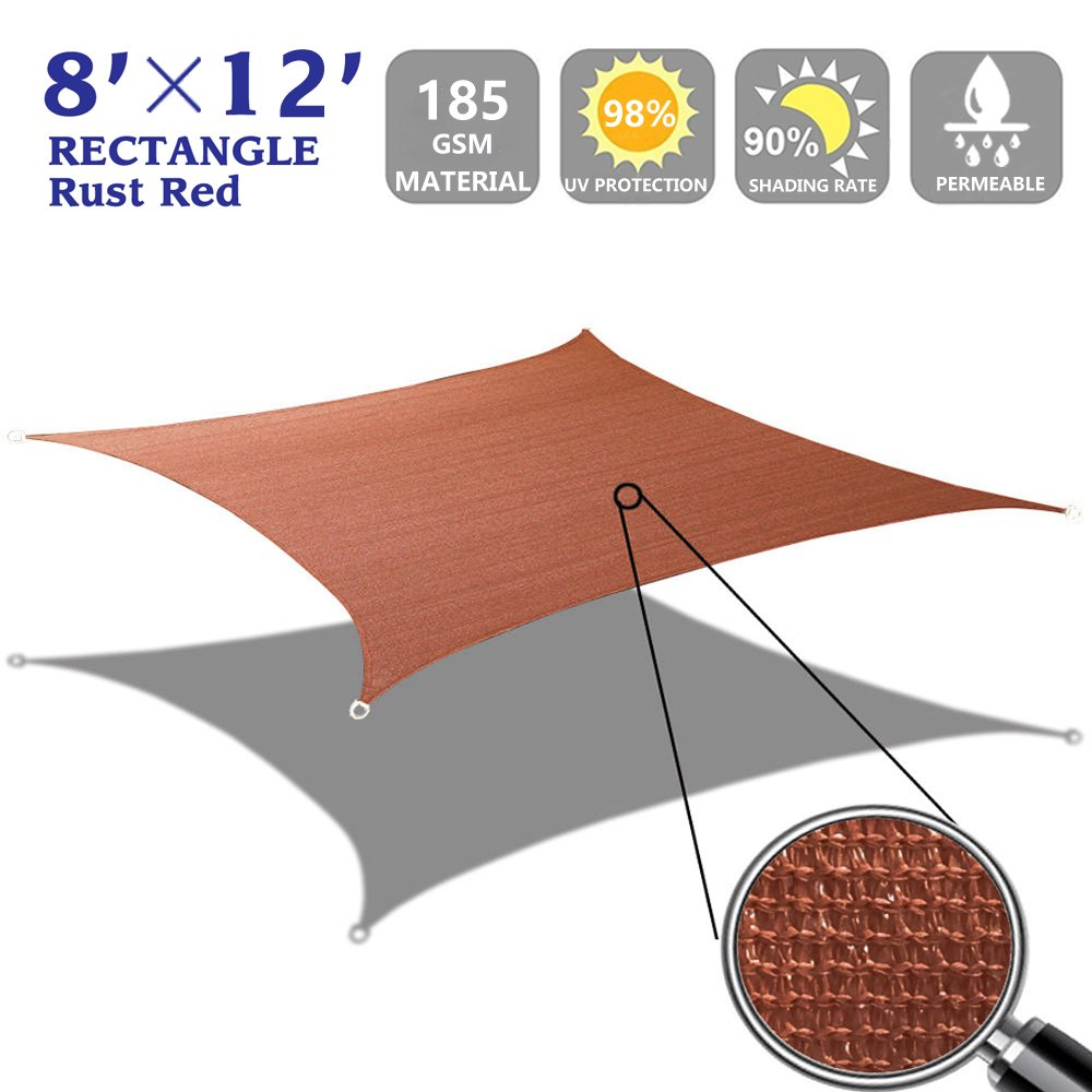 Get Quotations Shade Beyond 12 X 16 Rust Red Color Rectangle Sun Sail Uv Block