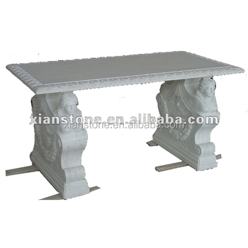65cm Height European Style Upscale White Marble Sculpture Coffee Tables Made In China