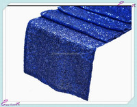 YHR#03 blue sequin banquet wedding wholesale table runner cloth overlay linens