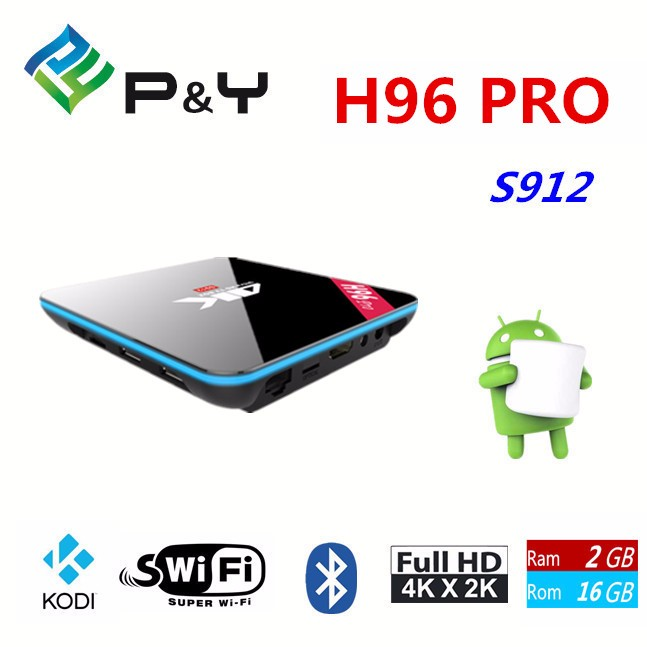 Bluetooth Amlogic 2G 16G H96 Pro S912 TV Box Quad-Core android 6.0 Bluetooth Media Player