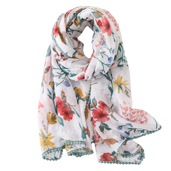 Yiwu Cheap Scarf Manufacturers New Design Styles Print Pattern Wraps Muslim Long Shawl Flower Viscose Scarf Hijab
