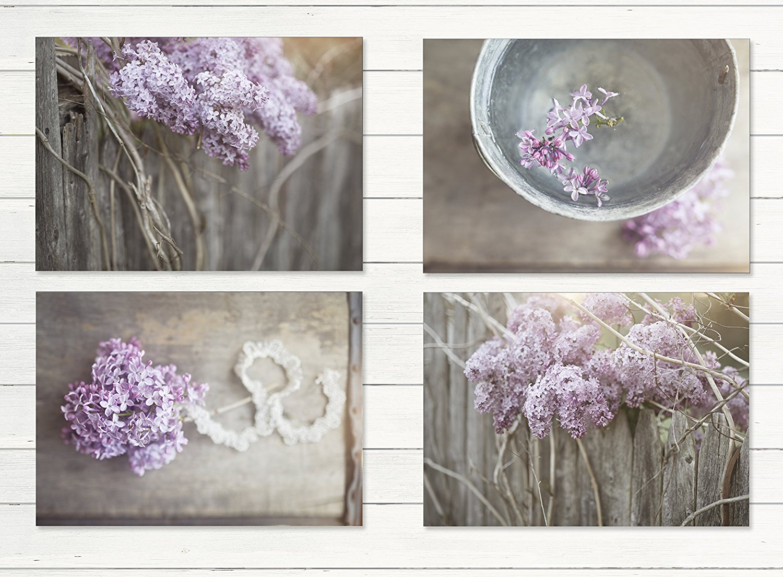 "Farmhouse Decor 4 PRINT SET, 8""x10"" - Lilacs, Country Decor, Rustic Wall Art, Country Print Set of 4, Rustic Country Landscape Prints or Canvases, Farm Art, Fixer Upper, Wood Plank Photo"