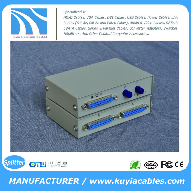 Manual 2 Port 25 Pin DB-25 Parallel Printer Sharing Switch Box