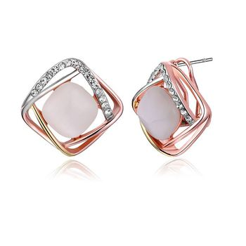 Square Stud Diamond Opal Earrings Canada Product On Alibaba