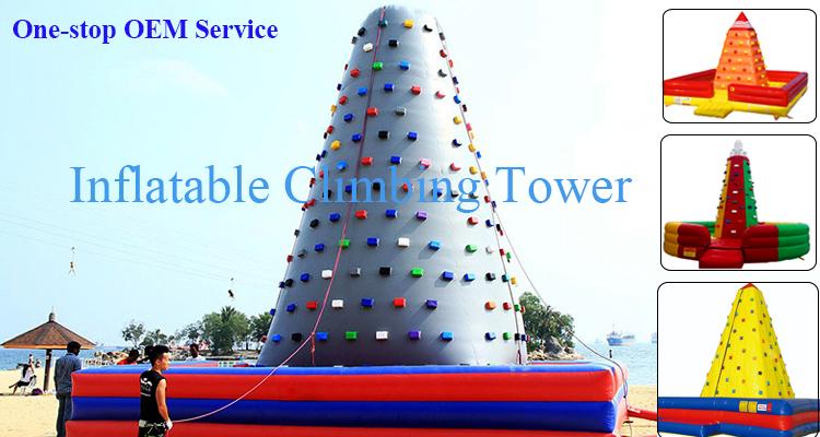 La migliore Vendita Usato Indoor Outdoor Artificiale Gonfiabile Giochi di Divertimento Galleggiante Gonfiabile Acqua A Dondolo Parete di Arrampicata Torre Prezzo