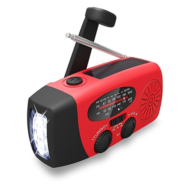Outdoor Hand Crank Emergency FM/AM/NOAA Camping Solar Radio with LED Flashlight