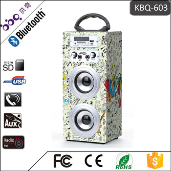 BBQ KBQ-603 Audio Music Mini Portable Wooden 10W Karaoke Bluetooth Speaker vs 2 Microphones & TF/USB/FM Radio