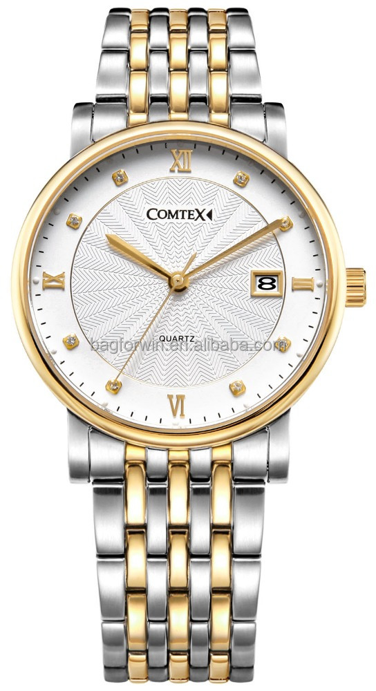 Luxury Gentle gold watch for men with rhinestone watchcase <strong>date</strong>