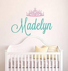 Custom Name Wall Decal Personalized Baby Crown Nursery Princess Tiara S Room
