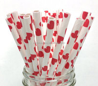 Red Hearts Paper Drinking Straws