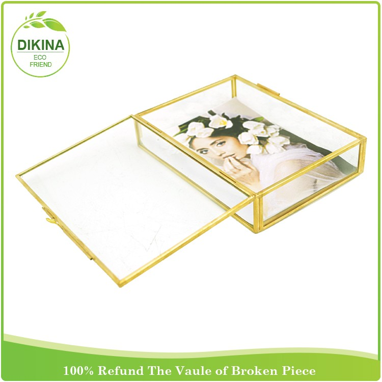 Excellent Rose Gold Glass Box For Displaying Wedding And Family Photos  TW16