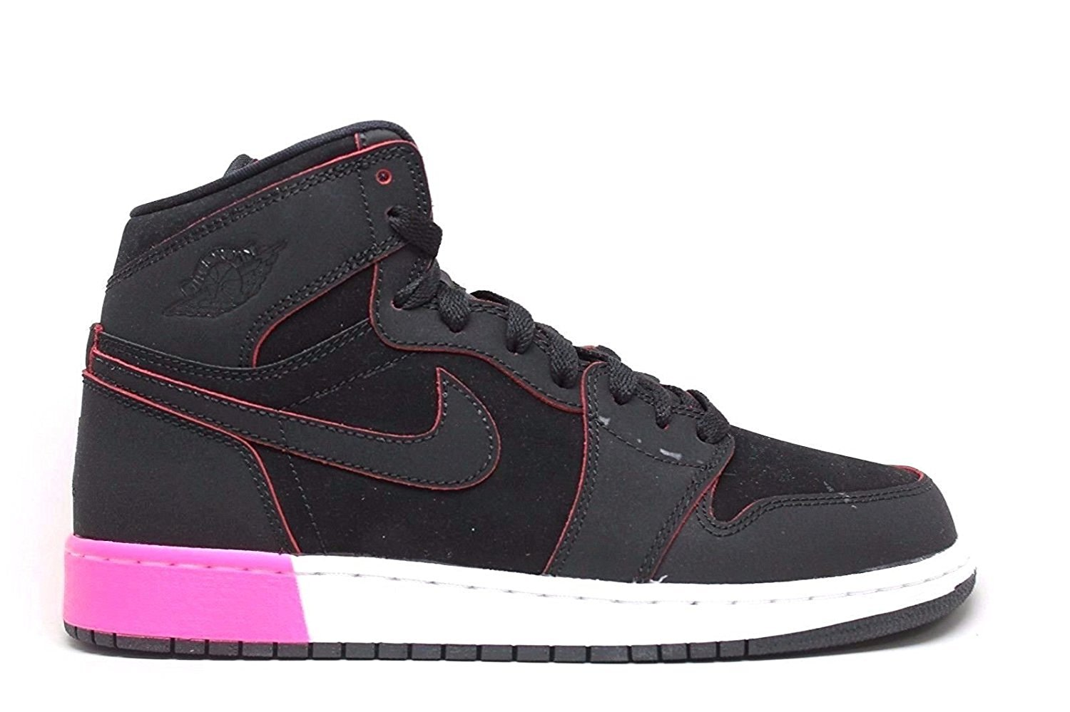 2f911dda6d85b9 Get Quotations · Jordan Retro 1 High Black Black-Hyper Pink-White (Big Kid)