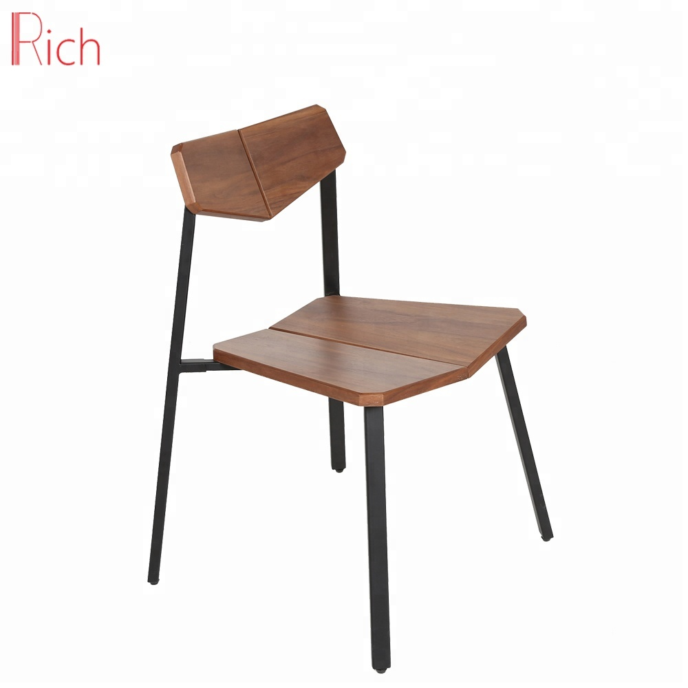 Vintage furniture solid wood portable dining chair black metal legs leisure office low back bentwood chair