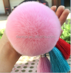 Gold Plated Tassel Fur Keychains Cute Genuine Rabbit Fur Ball Pom Pom Keychains For Bag Pendent Charm