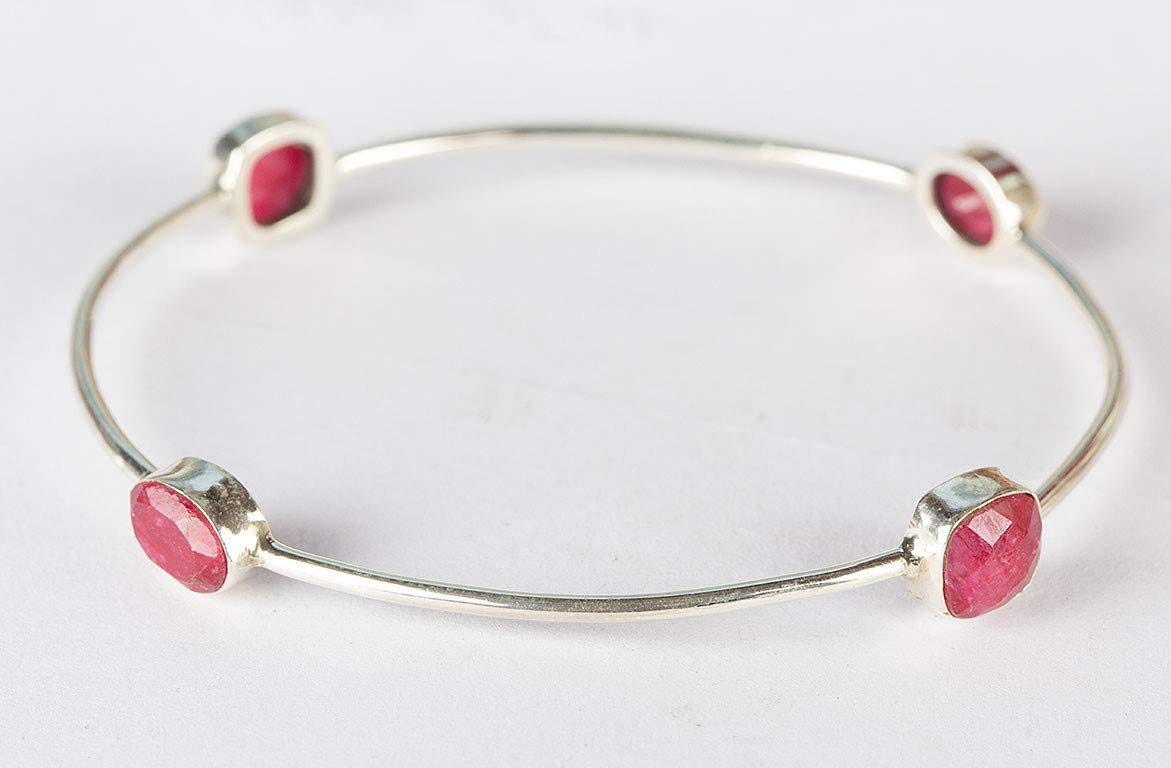 Ruby Bangle 925 Sterling Silver Luxury Bangle Fine Jewelry Love Bright Jewelry Perfect Gifting for Her Modern Style Tennis Bracelet Stacking Bangle Bohemian Tribal Jewelry handmade Ethnic Gypsy Bangle