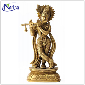 Public art decoration flute brass cosmic krishna statues NTBS-144Y