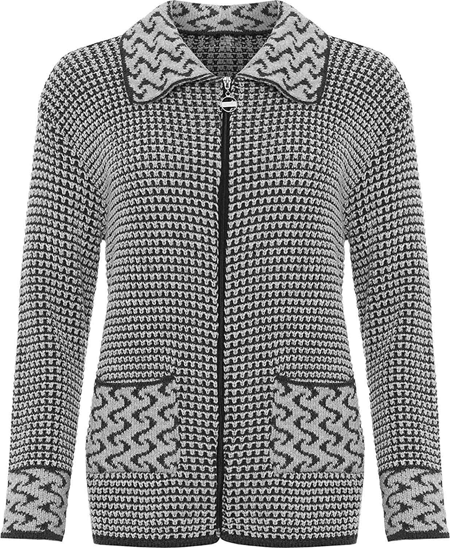 Rimi Hanger Womens Long Sleeve Knitted Cardigan Ladies Zip Pocket Leopard Collar Jacket