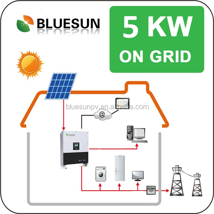 5kw grid tie solar system without battery total solution supplier from china