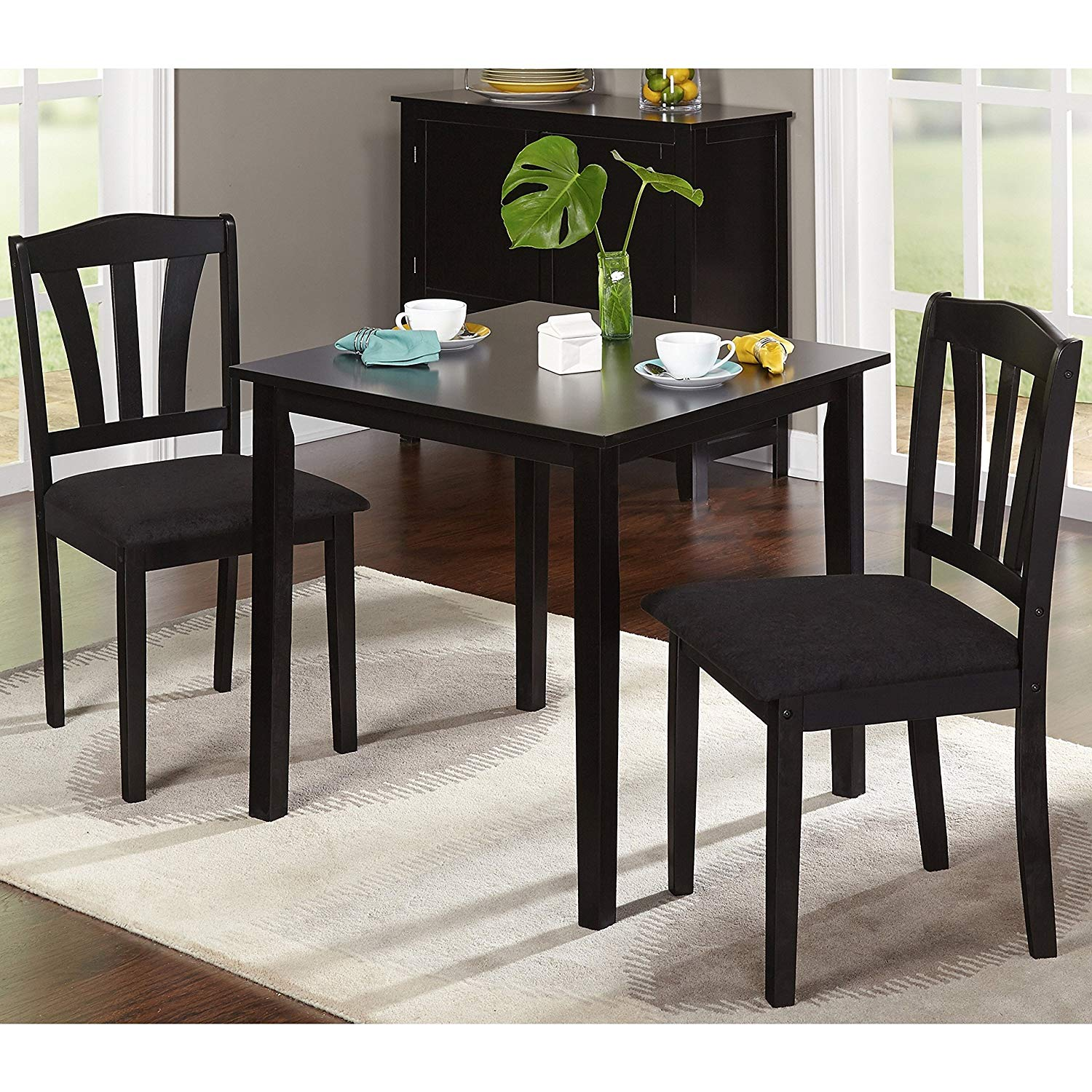 Contemporary 3-piece Dining Set, Includes 1 Table and 2 Chairs, Sturdy Rubberwood Construction, Comfortable Padded Microsuede Seating, Clean Lines and Elegant Design, Functional, Multiple Colors