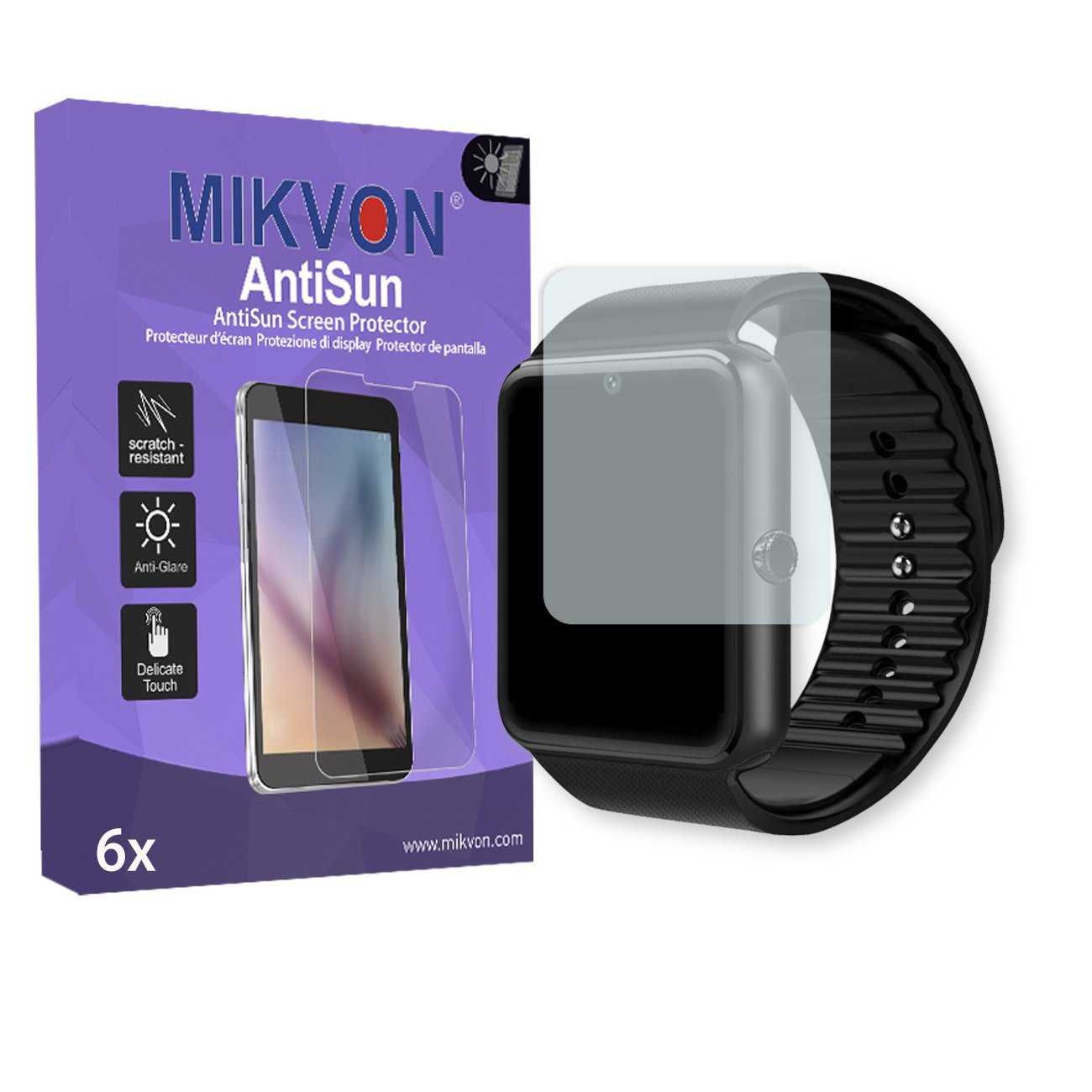 """6x Mikvon AntiSun Screen Protector for LaTEC 1.54"""" Bluetooth Smart Watch - Retail Package with accessories (intentionally smaller than the display due to its curved surface)"""