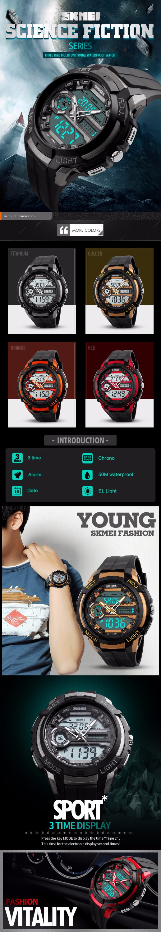 SKMEI 1202 Luxury Brand Men Sports Watch Dual Display Analog LED Digital Quartz Watch Fashion Student Swimming Diver Watch