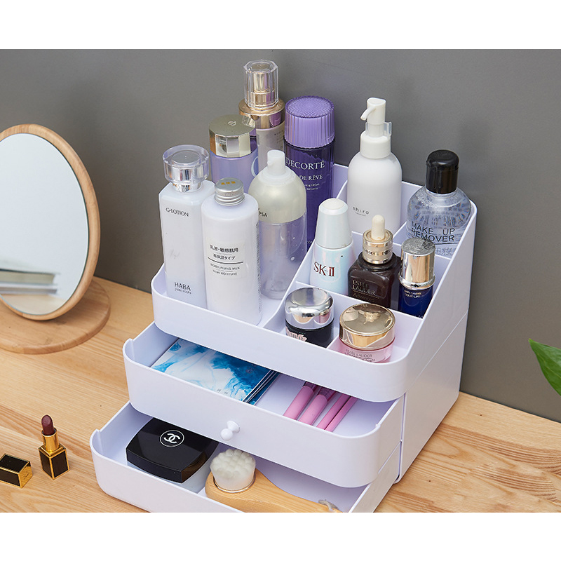 Hot Selling Plastic PS Makeup Organizer Display Case Dressing Case Cosmetic Box With Two Drawers