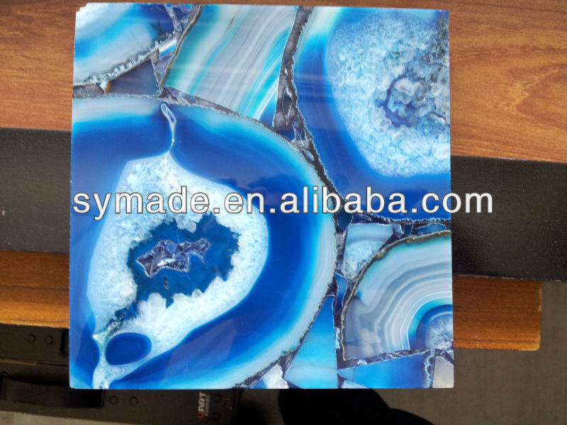 Blue agate square wall tile