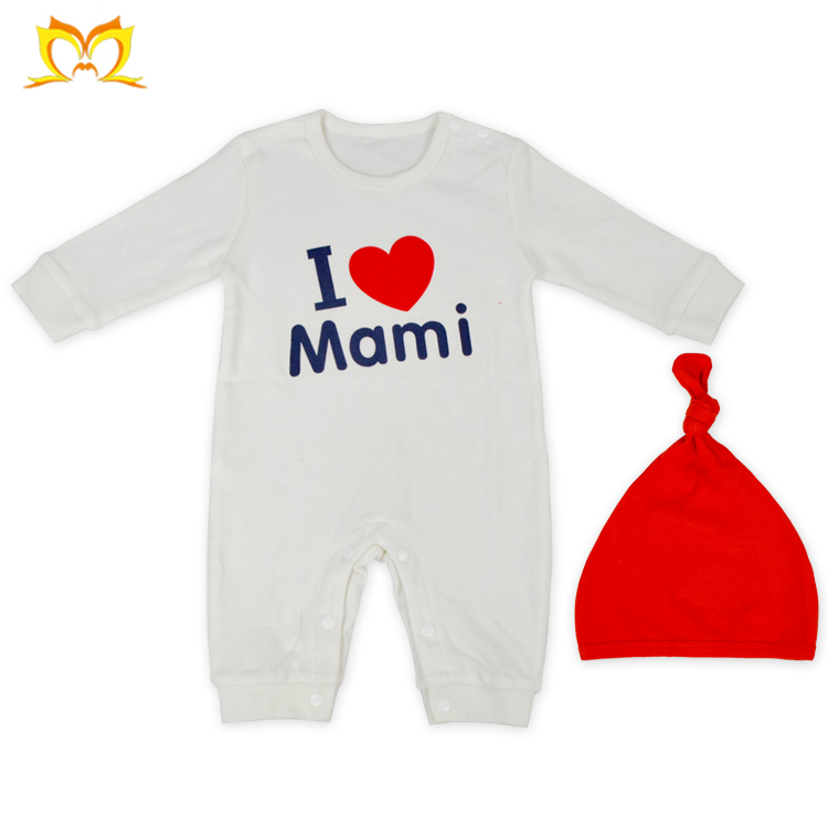 I Love Mami Romper And Beanie Set Newborn Baby Bodysuit Wholesale Baby Clothes