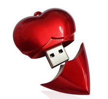 Brilliant Different Color High Quality Popular OEM Gift Custom Heart Shaped USB Flash Drive
